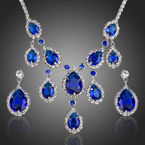 Dark Blue Sapphire Cubic Zirconia Necklace + Earrings Set - KHAISTA Fashion Jewellery