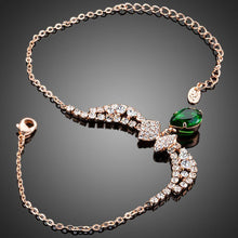 Load image into Gallery viewer, Dark Green Cubic Zirconia Butterfly Link Chain Bracelet - KHAISTA Fashion Jewellery