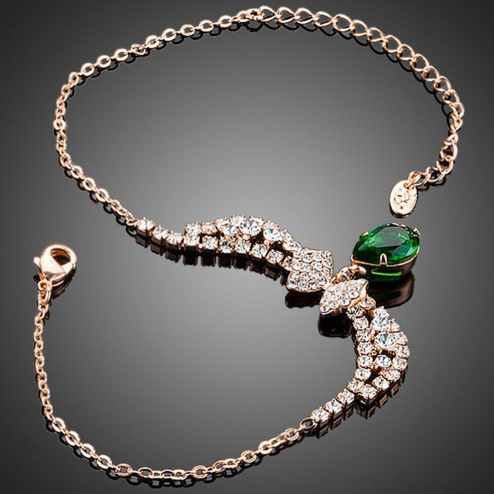 Dark Green Cubic Zirconia Butterfly Link Chain Bracelet - KHAISTA Fashion Jewellery