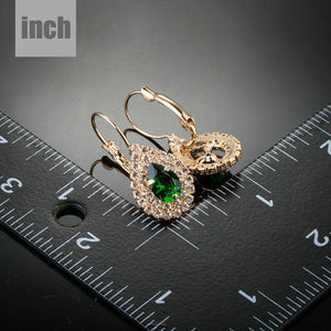 Dark Green Cubic Zirconia Raindrop Earrings - KHAISTA Fashion Jewellery