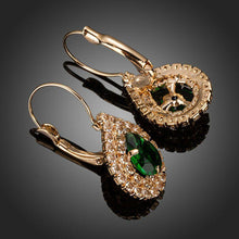 Load image into Gallery viewer, Dark Green Cubic Zirconia Raindrop Earrings - KHAISTA Fashion Jewellery