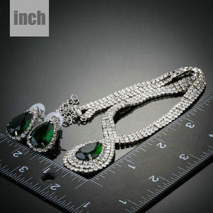Dark Green Cubic Zirconia Water Drop Jewelry Set - KHAISTA Fashion Jewellery