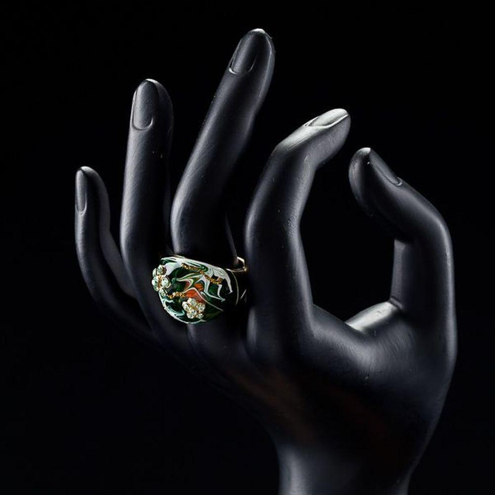 Dark Green Flower Design Oil Painting Ring - KHAISTA Fashion Jewellery
