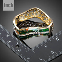 Load image into Gallery viewer, Dark Green Gold Plated Artistic Bangle - KHAISTA Fashion Jewellery