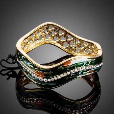 Dark Green Gold Plated Artistic Bangle - KHAISTA Fashion Jewellery