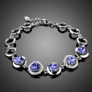 Dark Shiny Blue Crystal Chain Link Bracelet - KHAISTA Fashion Jewellery
