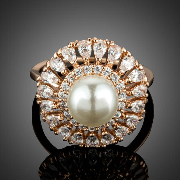 Design Engagement Wedding Bridal Pearl Ring - KHAISTA Fashion Jewellery