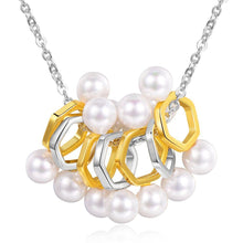 Load image into Gallery viewer, Designer Geometric Pearl Silver Necklace - KHAISTA Fashion Jewellery