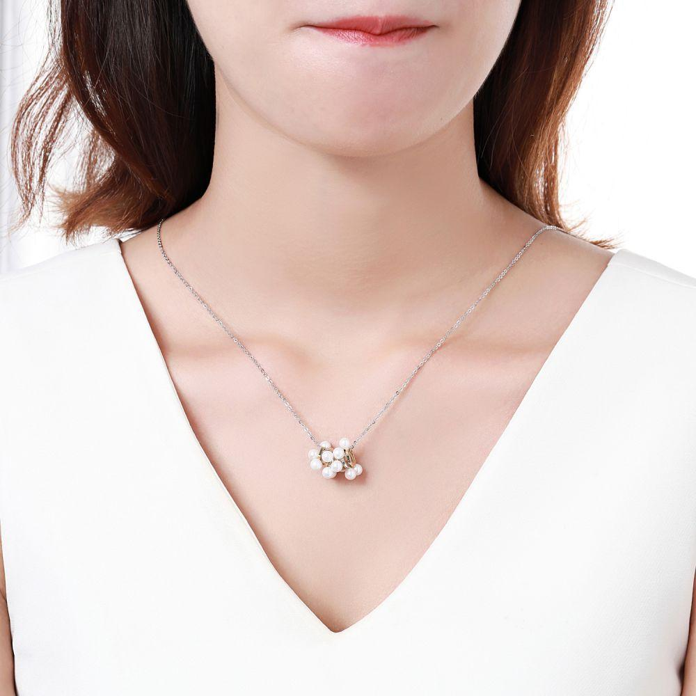 Designer Geometric Pearl Silver Necklace - KHAISTA Fashion Jewellery