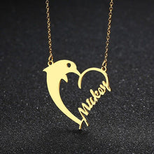Load image into Gallery viewer, Dolphin Love Heart Name Necklace - KHAISTA
