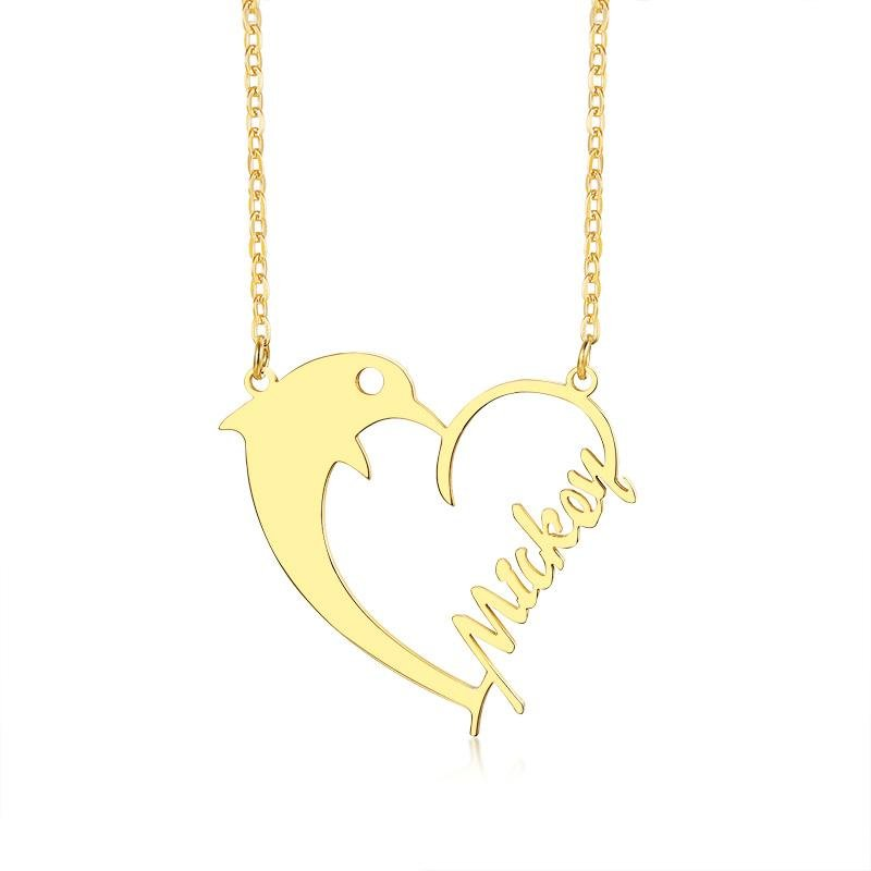 Dolphin Love Heart Name Necklace - KHAISTA