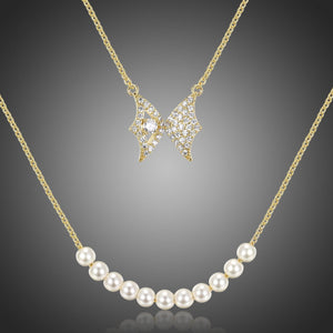Double Chain Butterfly Pearl Pendant Necklace KPN0280 - KHAISTA Fashion Jewellery