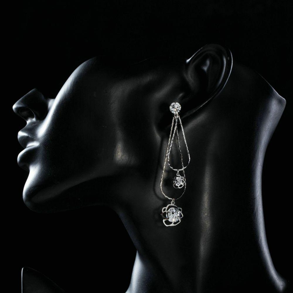 Double Flower Crystal Drop Earrings -KPE0168 - KHAISTA Fashion Jewellery