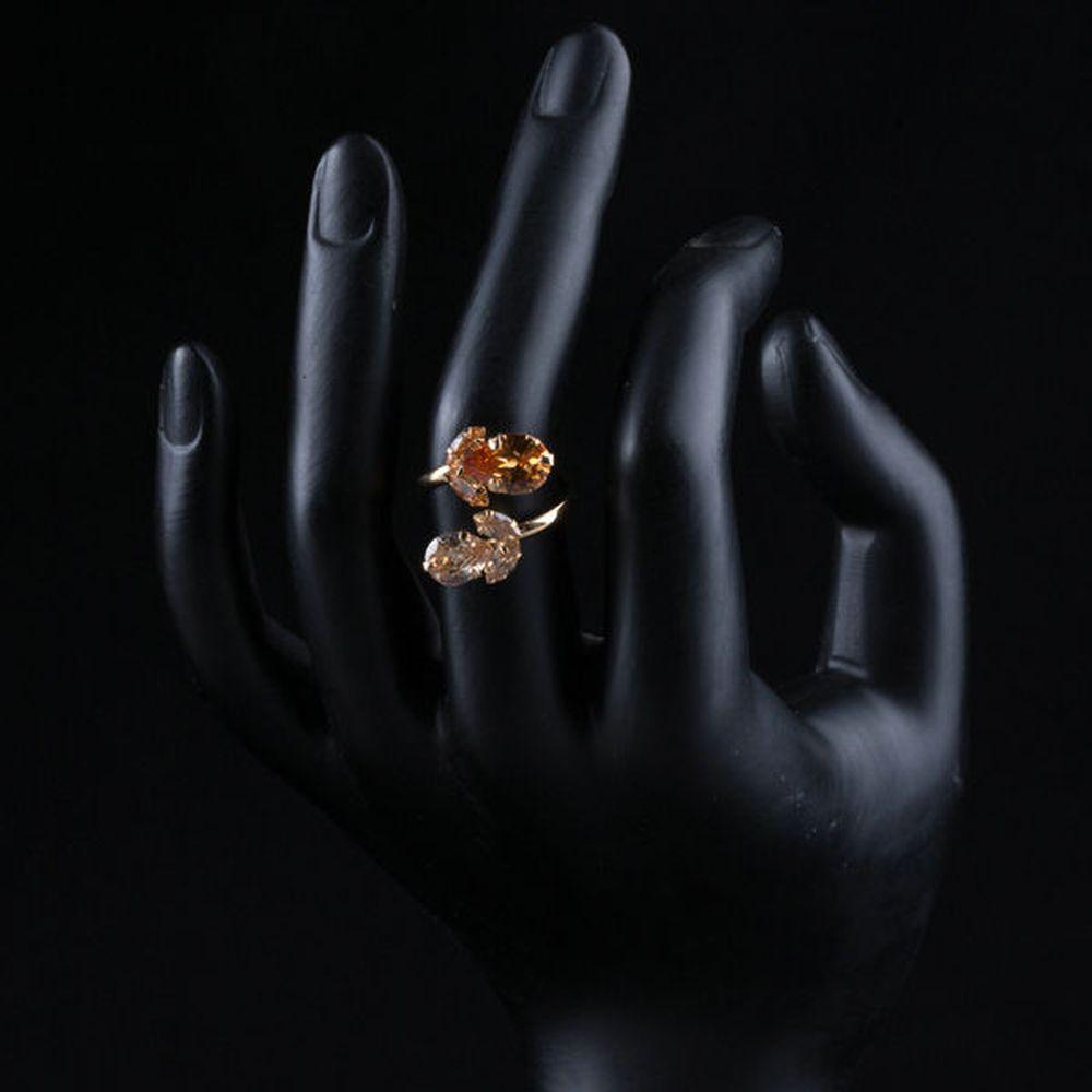 Double Flowers Champagne Cubic Zirconia Waterdrop Adjustable Ring - KHAISTA Fashion Jewellery