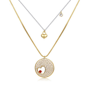 Double Heart FOREVER LOVE Gold CZ Necklace -KFJN0287 - KHAISTA2