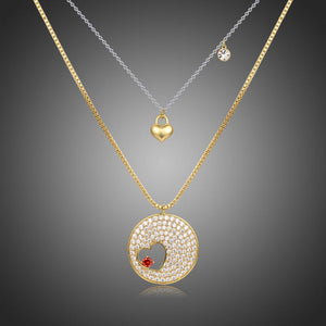 Double Heart FOREVER LOVE Gold CZ Necklace -KFJN0287 - KHAISTA1