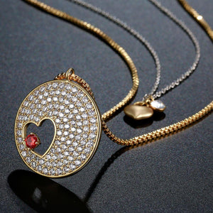 Double Heart FOREVER LOVE Gold CZ Necklace -KFJN0287 - KHAISTA4