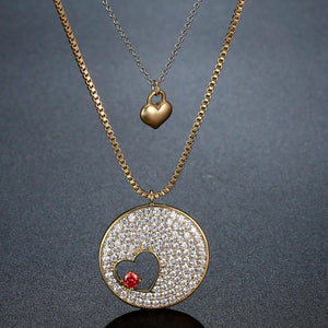 Double Heart FOREVER LOVE Gold CZ Necklace -KFJN0287 - KHAISTA3