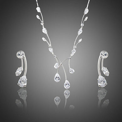 Elegant Princess Clear Waterdrop Cubic Zirconia Drop Earrings and Necklace Jewelry Set - KHAISTA Fashion Jewellery