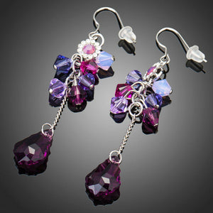 Elegant Purple Crystal Dangle Drop Earrings - KHAISTA Fashion Jewellery