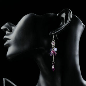 Elegant Purple Crystal Dangle Drop Earrings-khaista-KF0288-4