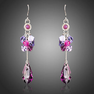 Elegant Purple Crystal Dangle Drop Earrings-khaista-KF0288-1