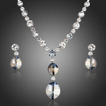 Load image into Gallery viewer, Ellipse Stellux Austrian Crystal Necklace and Drop Earrings Jewelry Set - KHAISTA Fashion Jewellery