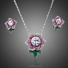 Load image into Gallery viewer, Exclusive White Gold Stellux Austrian Crystal Flower Stud Earrings and Necklace Set - KHAISTA Fashion Jewellery