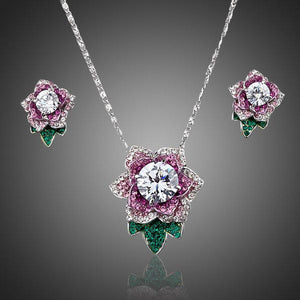 Exclusive White Gold Stellux Austrian Crystal Flower Stud Earrings and Necklace Set - KHAISTA Fashion Jewellery