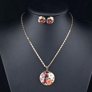 Floral Stud Earrings and Pendant Necklace Set - KHAISTA Fashion Jewellery