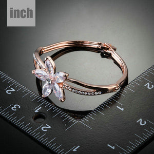 Flower Design Cubic Zirconia Bangle - KHAISTA Fashion Jewellery