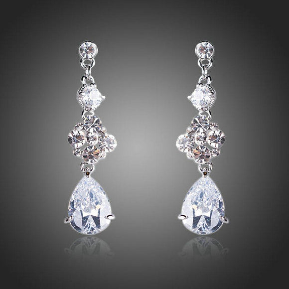 Flower Design Cubic Zirconia Drop Earrings - KHAISTA Fashion Jewellery