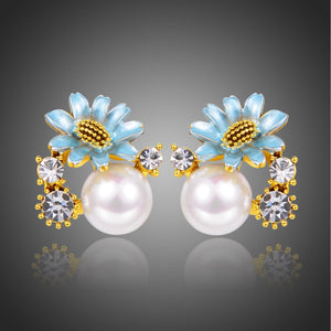 Flower Pearl Stud Earrings -KPE0352 - KHAISTA Fashion Jewellery
