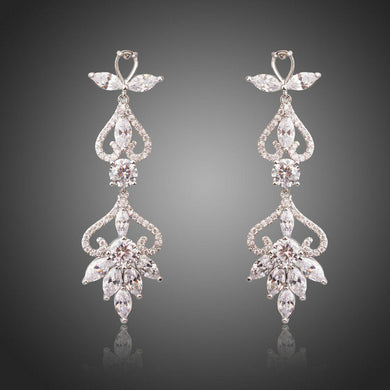 Flower Shape Crystal Drop Earrings -KPE0286 - KHAISTA Fashion Jewellery
