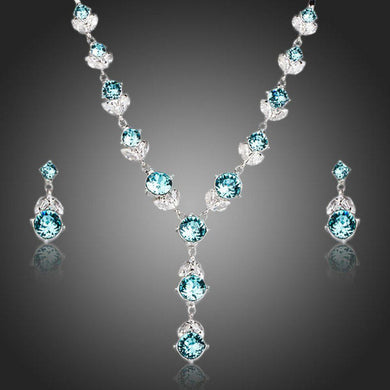 Flower With Light Blue Stellux Austrian Jewelry Set - KHAISTA Fashion Jewellery
