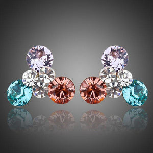 Flowers Stellux Austrian Crystal Stud Earrings -KPE0033 - KHAISTA Fashion Jewellery
