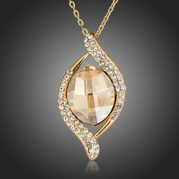 Geometric Champagne Crystal Pendant Necklace - KHAISTA Fashion Jewellery