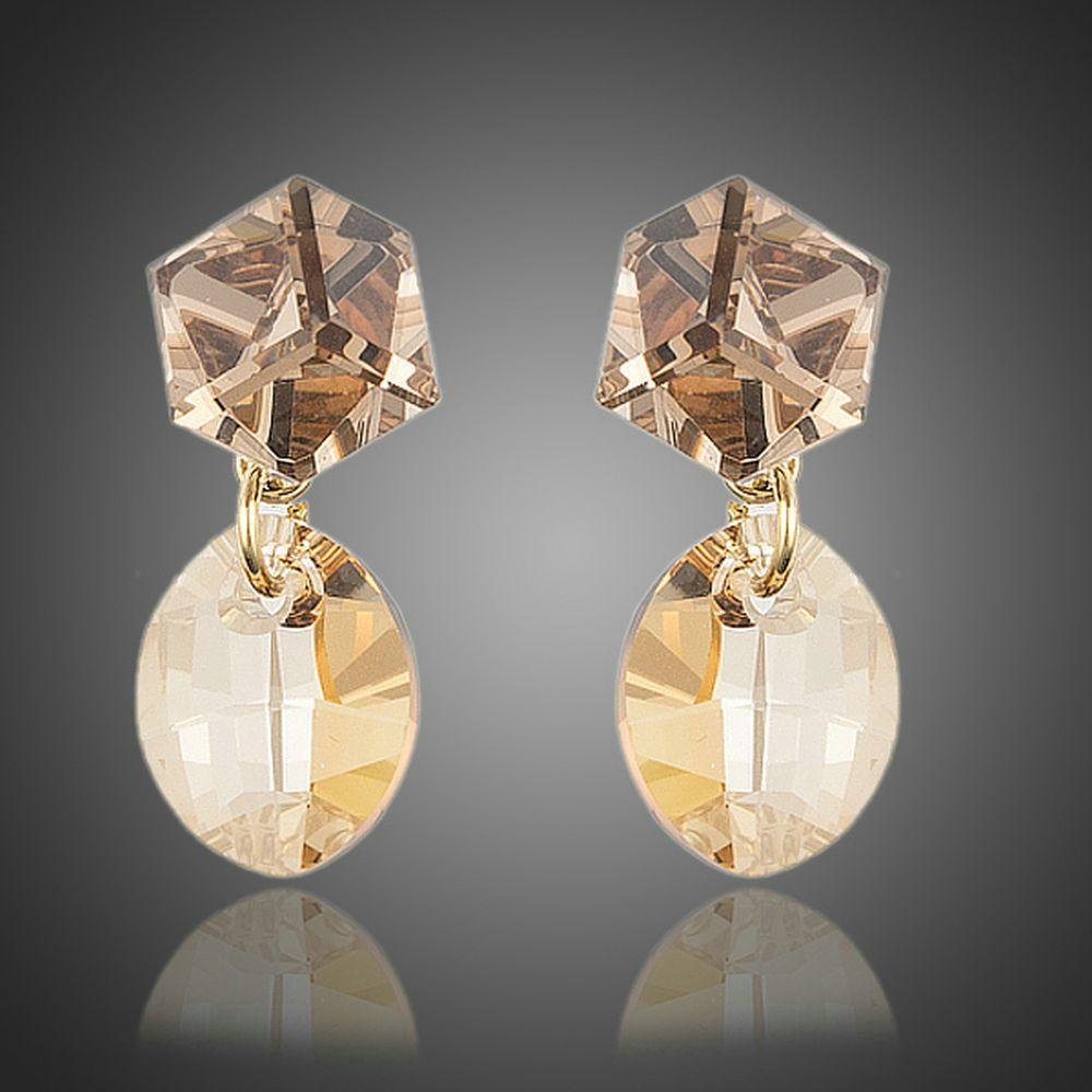 Geometric Crystal Drop Earrings - KHAISTA Fashion Jewellery