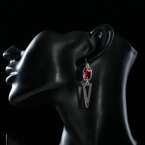 Geometric Design Crystal Drop Earrings - KHAISTA Fashion Jewellery