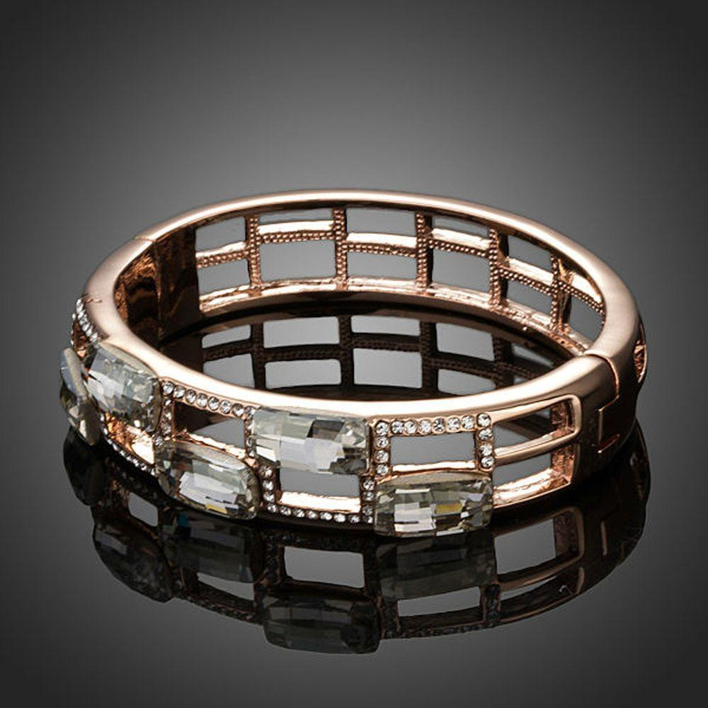 Geometric Designer Crystal Bangle - KHAISTA Fashion Jewellery