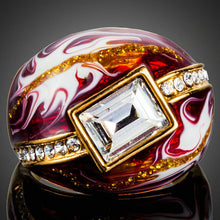 Load image into Gallery viewer, Geometric Red Oil Painting Ring - KHAISTA Fashion Jewellery