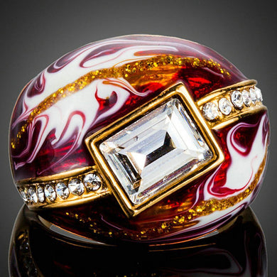 Geometric Red Oil Painting Ring - KHAISTA Fashion Jewellery