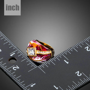 Geometric Red Oil Painting Ring-khaista.com