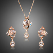Load image into Gallery viewer, Geometrical Crystal Drop Earrings and Pendant Necklace Set - KHAISTA Fashion Jewellery
