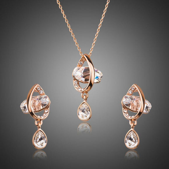 Geometrical Crystal Drop Earrings and Pendant Necklace Set - KHAISTA Fashion Jewellery