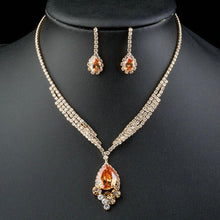Load image into Gallery viewer, Gold Color Champagne Cubic Zirconia Jewelry Set - KHAISTA Fashion Jewellery