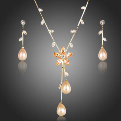 Gold Color Imitation Pearl Cubic Zirconia Earrings and Necklace Set - KHAISTA Fashion Jewellery