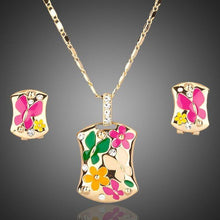 Load image into Gallery viewer, Gold Plated Artistic Clip Earrings and Pendant Necklace Set - KHAISTA Fashion Jewellery