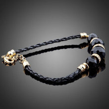 Load image into Gallery viewer, Gold Plated Black Crystal Charm Bracelet - KHAISTA Fashion Jewellery