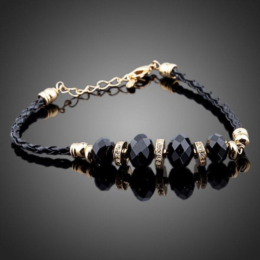 Gold Plated Black Crystal Charm Bracelet - KHAISTA Fashion Jewellery